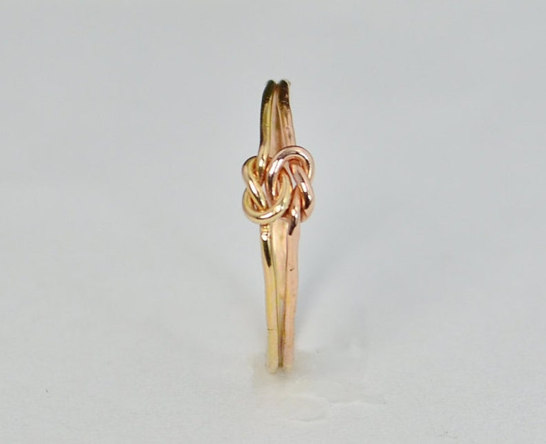 Dainty Gold and Rose Gold Double Knot Ring Love Ring Love image 0