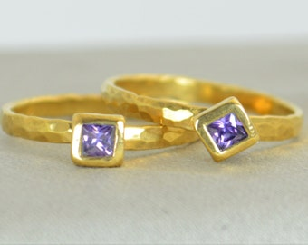 Square Amethyst Ring, Amethyst Solitaire Ring, Solid Gold Amethyst Ring, February Birthstone, Square Stone Mothers Ring, Square Stone Ring