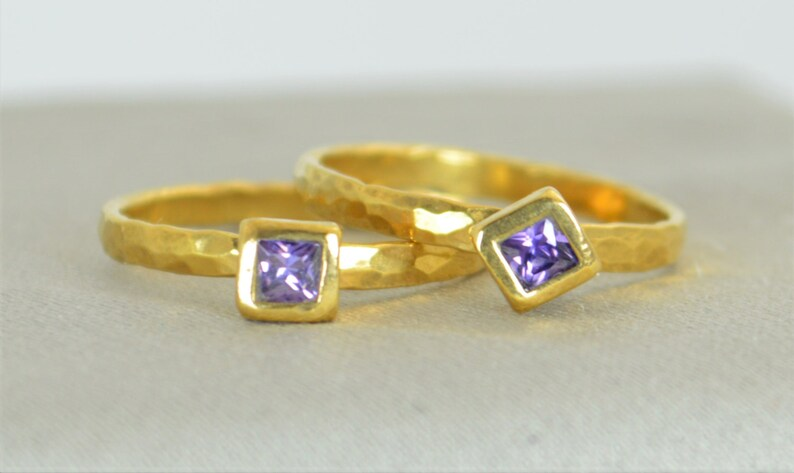 Square Amethyst Ring Amethyst Solitaire Ring Solid Gold image 0