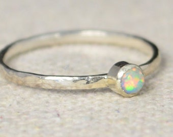 Classic Sterling Silver Opal Ring, 3mm Silver solitaire, Soltaire, Silver jewelry, October Birthstone, Mothers Ring, Silver band