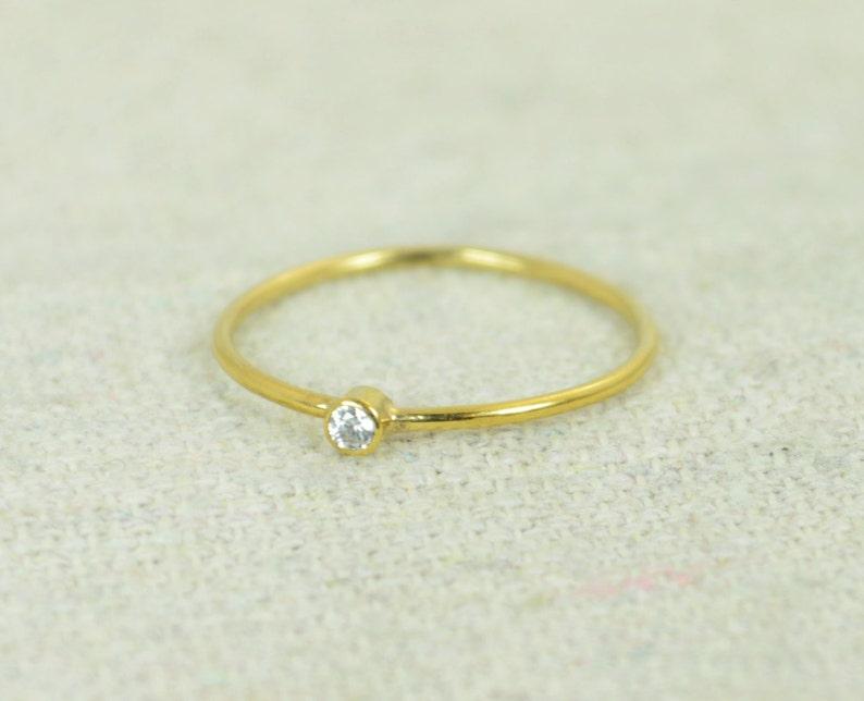 Tiny CZ Diamond Ring Gold Filled Diamond Stacking Ring Gold image 0