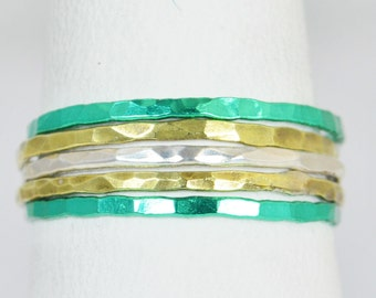 Green Bay Packers Team Color Ring Set, Sterling Silver, Ceramic Color, Sports Inspired Colors, Stacking Ring Set, Dainty Rings, Team