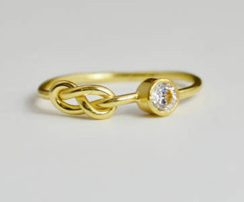 14k Gold CZ Diamond Infinity Ring 14k Gold Ring Stackable image 0