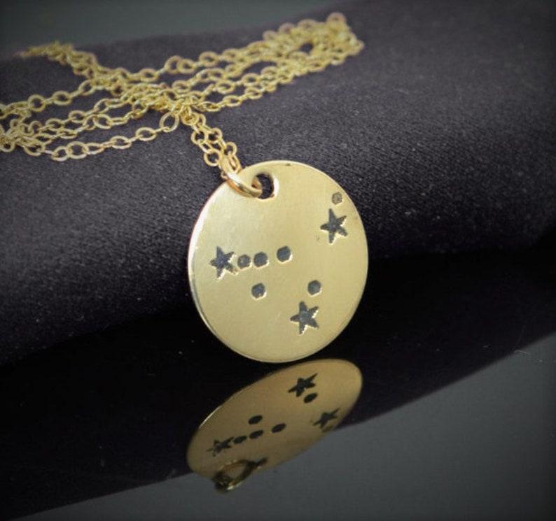Capricorn Necklace 14k Gold Filled Constellation Capricorn image 0