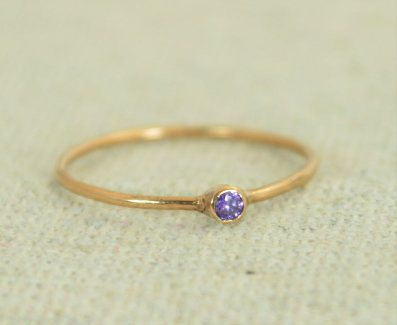 Tiny Amethyst Ring Rose Gold Filled Amethyst Stacking Ring image 0