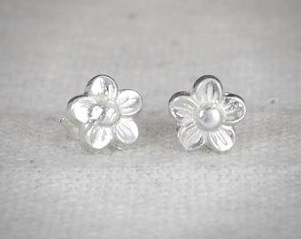 Flower Stud Earrings, Sterling Flower Earrings, Silver Stud Earrings, Simple Earrings, Flower Girl Gift, Flower Girl Earrings,Flower Jewelry