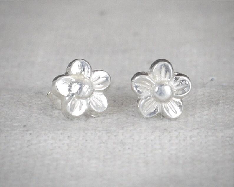 Flower Stud Earrings Sterling Flower Earrings Silver Stud image 0