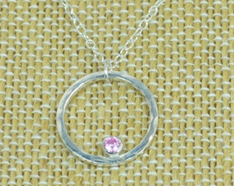 Sterling Silver Pink Tourmaline Necklace, Mothers Necklace, Mom Necklace, October Birthstone Necklace,Tourmaline Necklace, Mother's Necklace