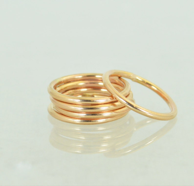 Round Classic Rose Gold Stackable Rings 14k Rose Gold image 0