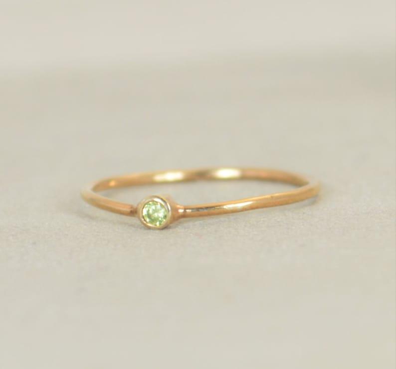 Tiny Peridot Ring Peridot Ring Filled Rose Gold Rose Gold image 0