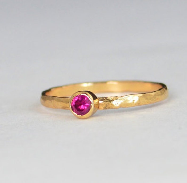 Classic Solid 14k Rose Gold Ruby Ring 3mm Solitaire image 0