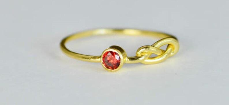 14k Gold Garnet Infinity Ring 14k Gold Ring  Stackable image 0