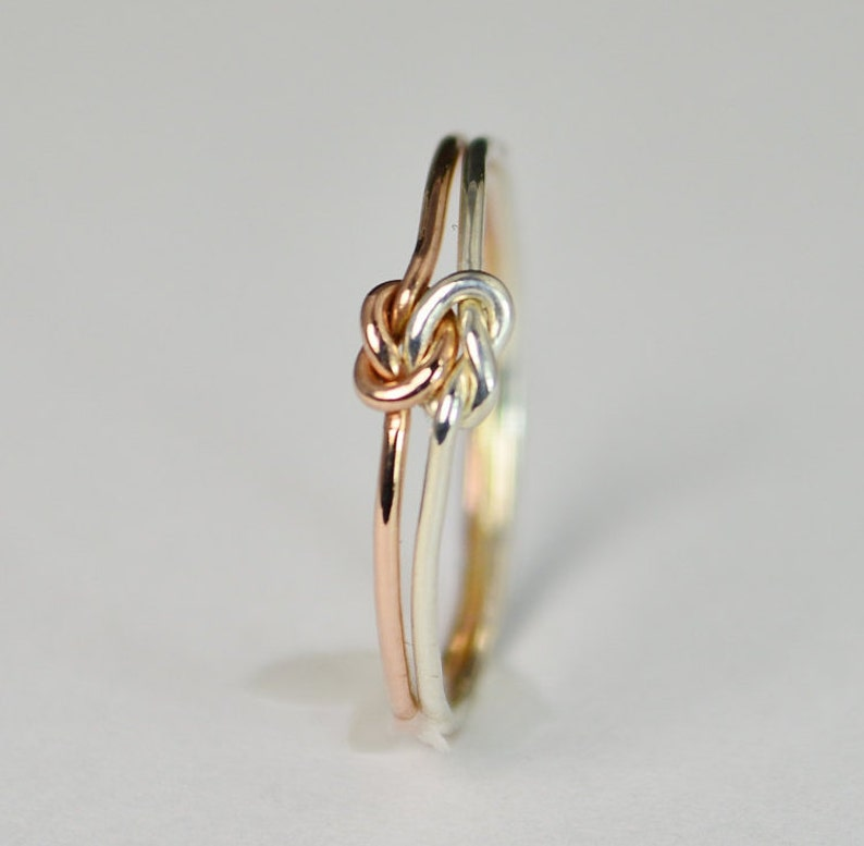 Dainty Silver and Rose Gold Double Knot Ring Love Ring Love image 0