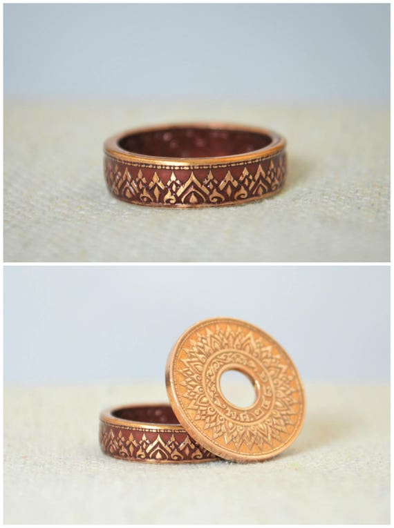 Thailand Art Red Crown Ring Thai Coin Ring BoHo Ring Burgundy Coin Ring Burgundy Ring Thailand Coin Ring Bohemian Ring Coin Jewelry