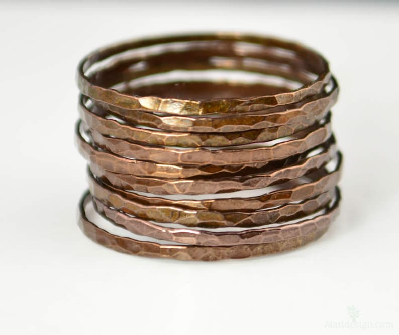 Super Thin Bronze Copper Stackable Rings Bronze Ring image 0
