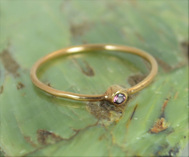 Tiny Alexandrite Ring Alexandrite Stacking Ring Solid 14k image 0