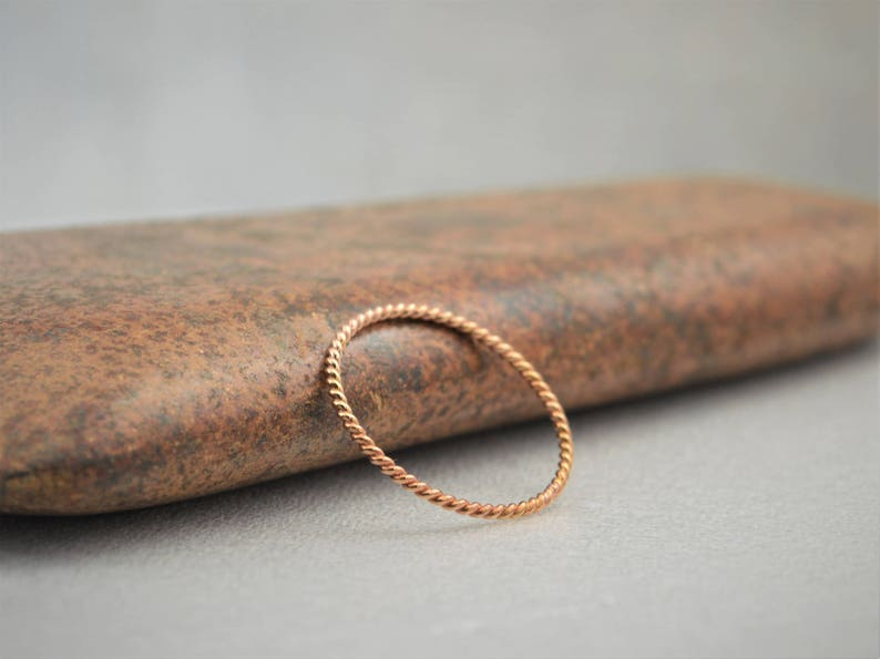 Thin Solid 14k Rose Gold Twist Stackable Rings Stacking image 0