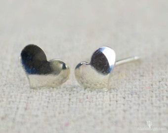 Small Silver Heart Earrings, Sterling Silver Earrings, Silver Stud Earrings, Simple Silver Earrings, Everyday Earrings, Silver Post Earrings