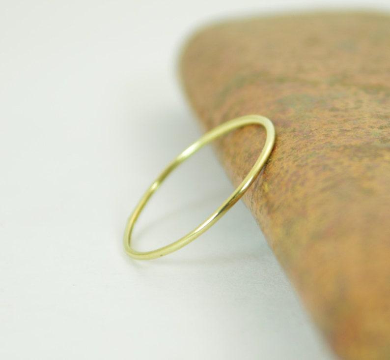 Solid 14K Green Gold Ring Super Thin Stacking Round Minimal image 1