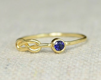Sapphire Infinity Ring, Gold Filled Ring, Stackable Rings, Mother's Ring, September Birthstone Ring, Gold Infinity Ring, Gold Knot Ring