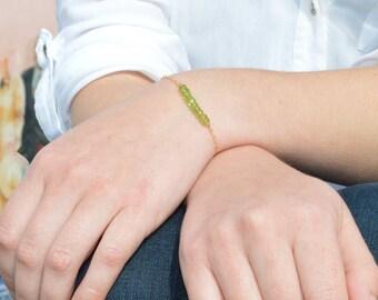 Peridot Bracelet, Danity Stacking Bracelet, 14k Gold Fill, Sterling Silver, Rose Gold, Green Bracelet, Peridot, Bar Bracelet, Gold Bracelet