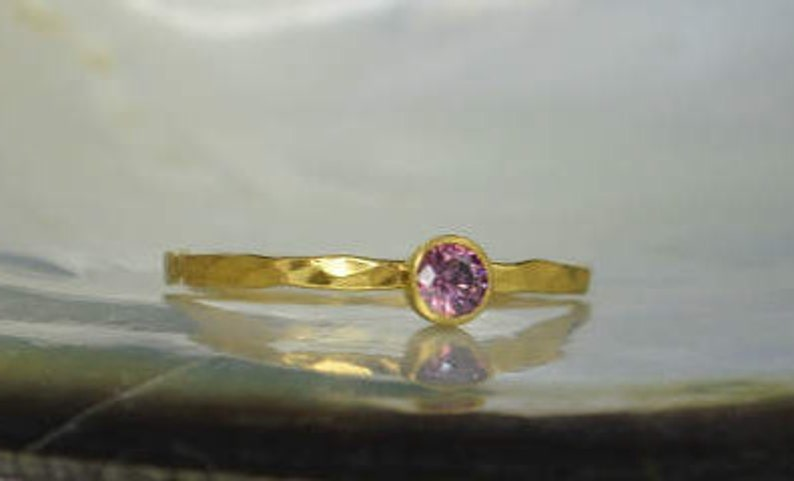 Dainty Solid 14k Gold Alexandrite Ring 3mm gold solitaire image 0