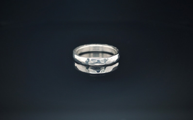 4mm Wide Solid Sterling Silver Hammered Wedding Band Wide image 0