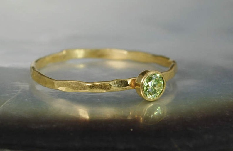 Dainty Solid 14k Gold Peridot Ring 3mm gold solitaire image 0