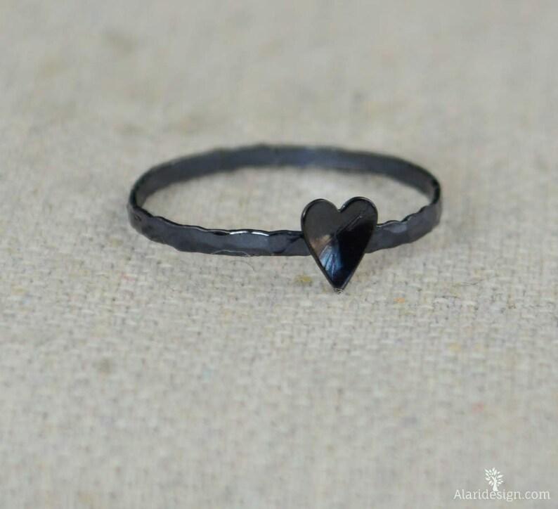 Tiny Gunmetal Heart Ring Sterling Silver Gunmetal Ring image 0