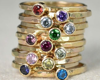 Classic 14k Gold Filled Birthstone Rings, Gold solitaire, solitaire ring, 14k gold filled, Birthstone, Mothers Ring, gold band, yellow Gold