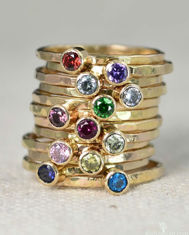 Classic 14k Gold Filled Birthstone Rings Gold solitaire image 0
