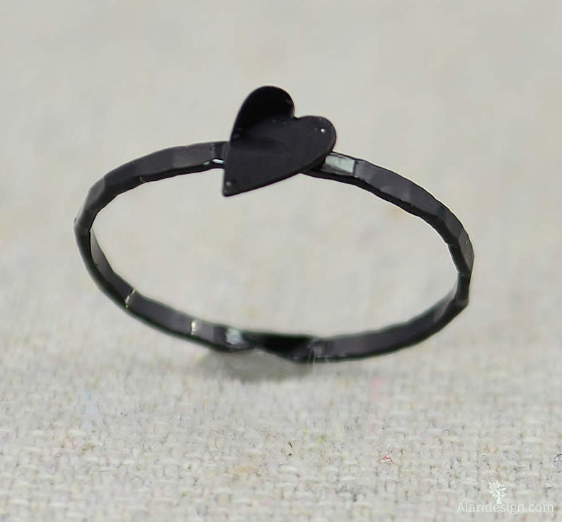 Tiny Black Heart Ring Sterling Silver Black Ring image 0