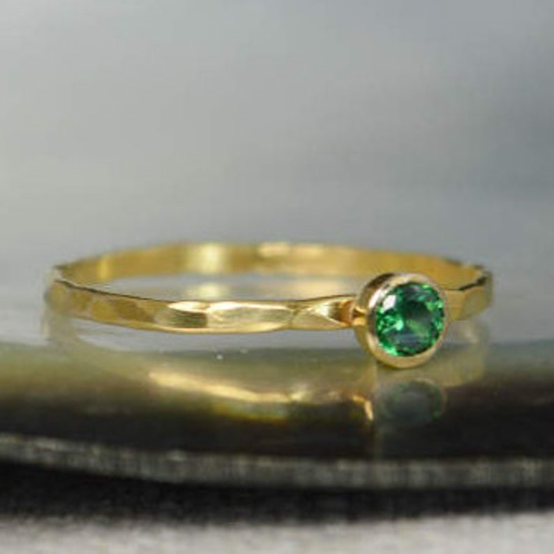 Dainty Solid 14k Gold Emerald Ring 3mm Gold Solitaire image 0