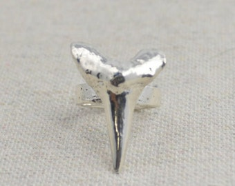 Shark Tooth Ring, Solid Sterling Silver, Statement Ring, Sand Cast Ring, Fossil Tooth Ring, Shark Tooth Jewelry, BOHO Ring, Tooth Ring