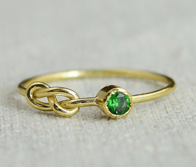 Emerald Infinity Ring Gold Filled Ring Stackable Rings image 0