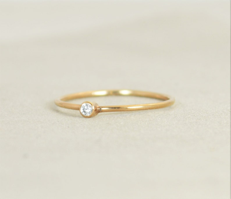 Tiny Rose Gold CZ Diamond Ring Mother's Ring April image 0