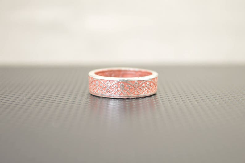 Moroccan Coin Ring Dusty Rose Coin Ring Stained Glass Ring image 0