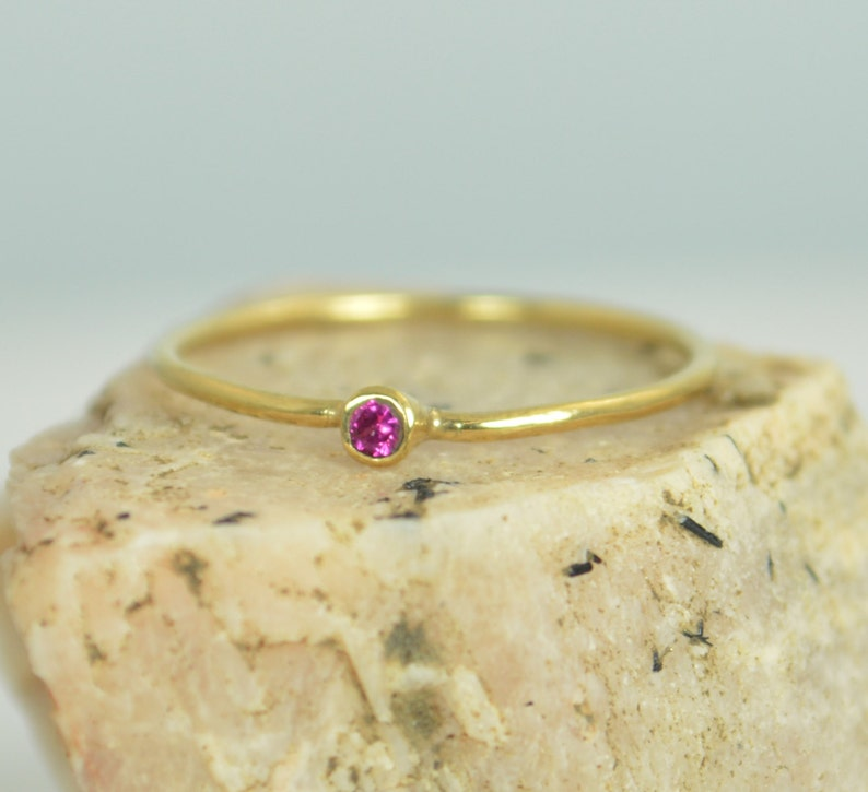 Tiny Ruby Ring Ruby Stacking Ring Solid 14k Gold Ruby Ring image 0