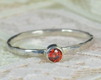 Garnet Engagement Ring, Sterling Silver, Garnet Wedding Ring Set, Rustic Wedding Ring Set, January Birthstone, Sterling Silver Garnet Ring