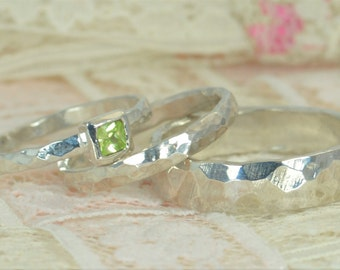 Square Peridot Engagement Ring, Sterling Silver, Peridot Wedding Ring Set, Rustic Wedding Ring Set, August Birthstone, Sterling Peridot