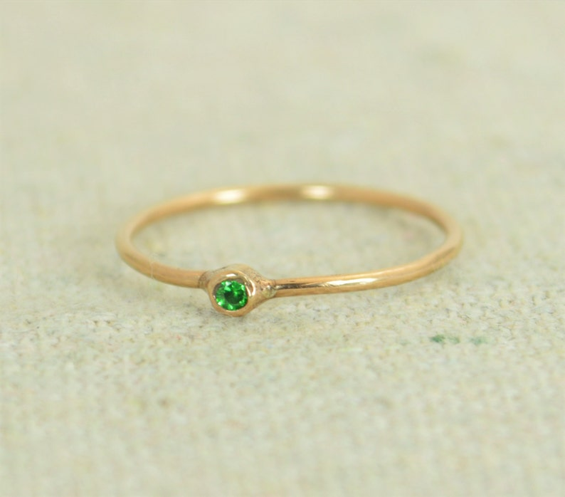 Tiny CZ Emerald Ring Rose Gold Filled Emerald Stacking Ring image 0