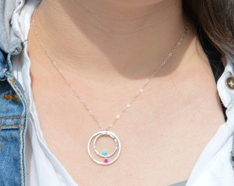 Aunt Necklace, Aunts Necklace, Mom Necklace, Sterling Silver Necklace, Gift for Mom, Mothers Jewelry, Birthstone Necklace, Gift for Aunt