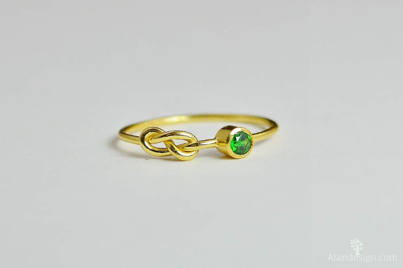 14k Gold Emerald Infinity Ring 14k Gold Ring Stackable image 0