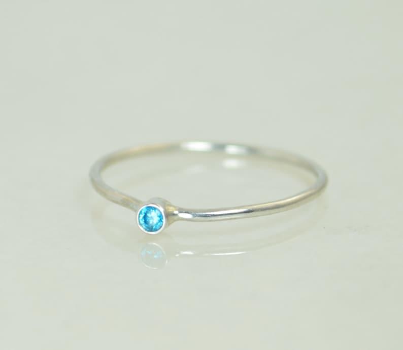 Blue Zircon Ring White Gold Ring Stacking Ring Dainty Ring image 0