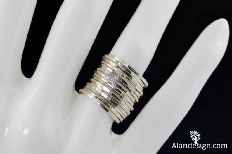 Set of 15 Super Thin Pure Silver Stackable Rings Silver image 0