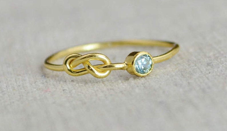 Gold Aquamarine Infinity Ring Gold Filled Ring Stackable image 0
