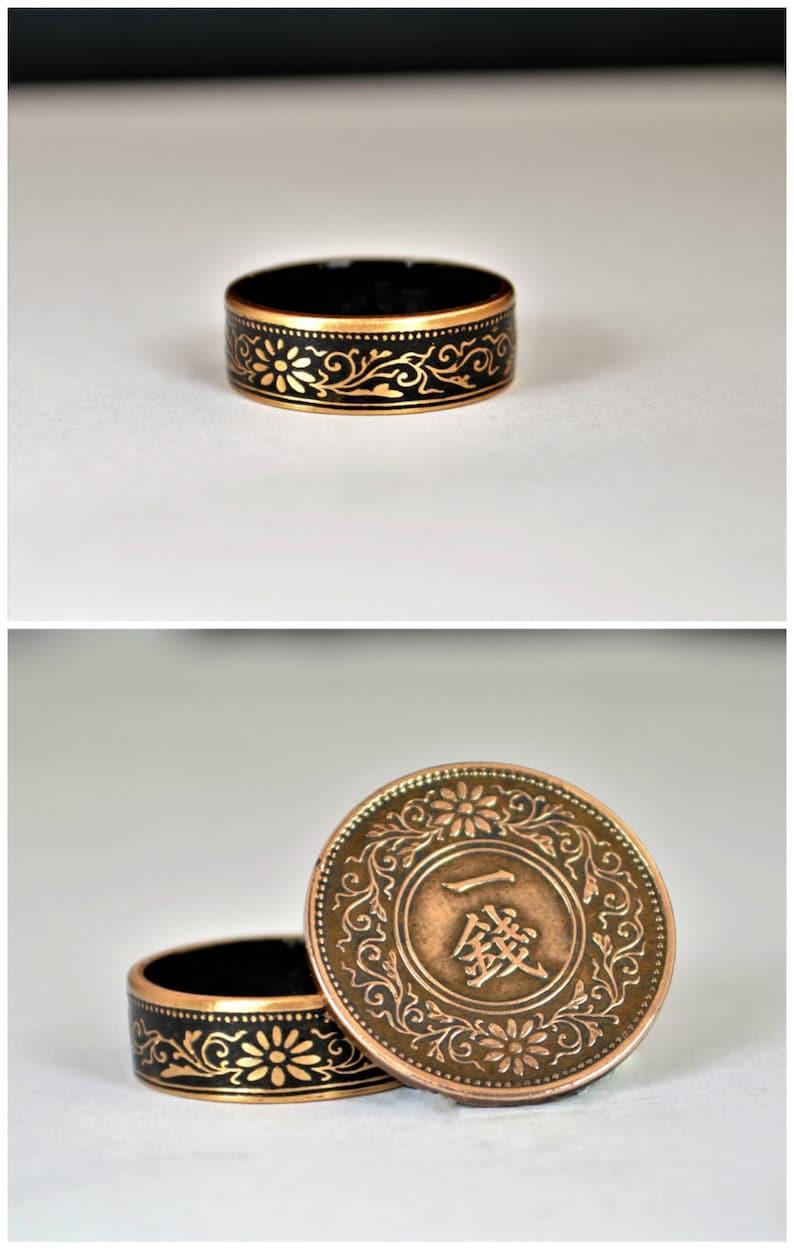 Japanese Coin Ring Black Ring Japanese Ring Coin Ring image 0