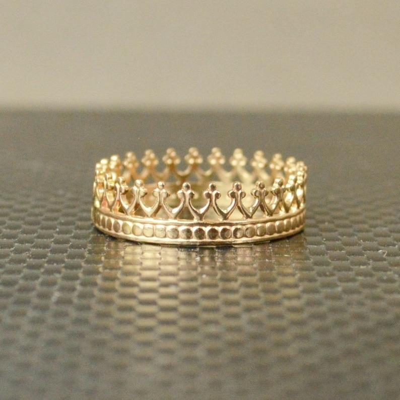 14k Solid Gold Crown Ring Princess Ring Gold Crown Ring image 0