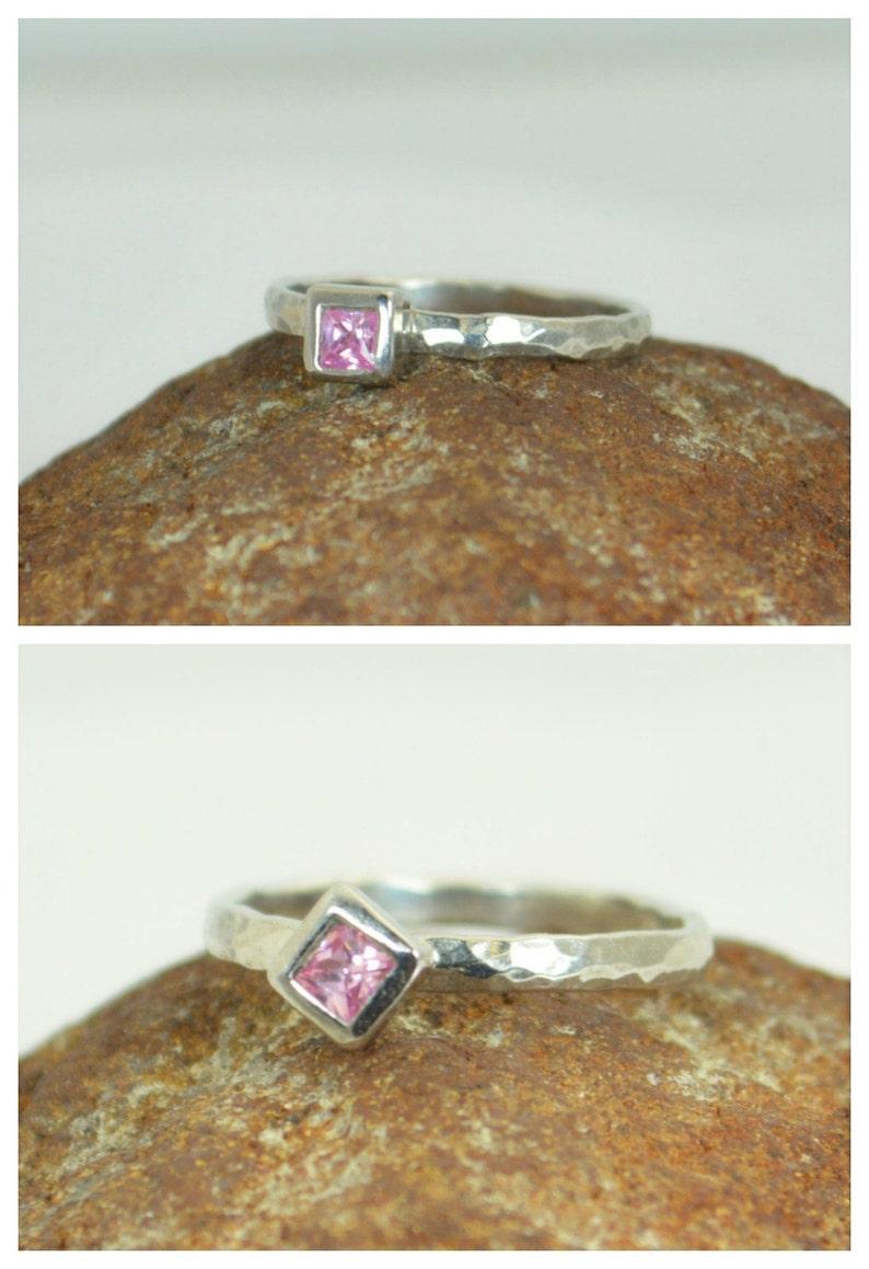 Square Pink Tourmaline Ring Tourmaline White Gold Ring image 0
