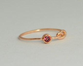 14k Rose Gold Alexandrite Infinity Ring, 14k Rose Gold, Stackable Rings, Mother's Ring, June Birthstone, Rose Gold Infinity, Rose Gold Knot